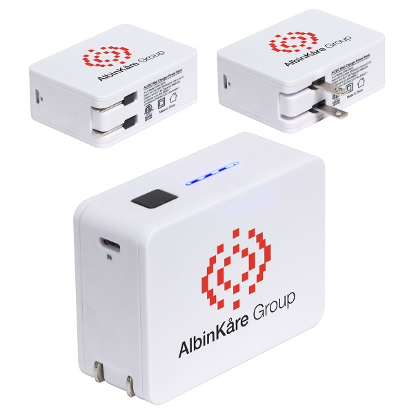 2-in-1 USB Wall Charger Power Bank - 2600mAh
