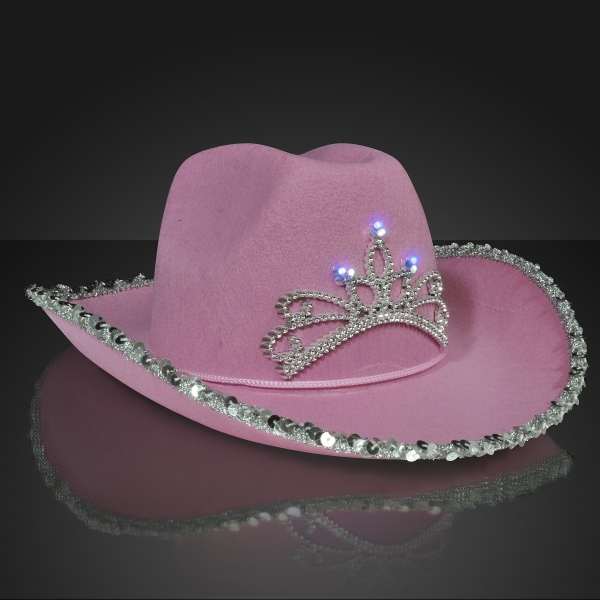 Light Up Country Western Pink Cowgirl Hat