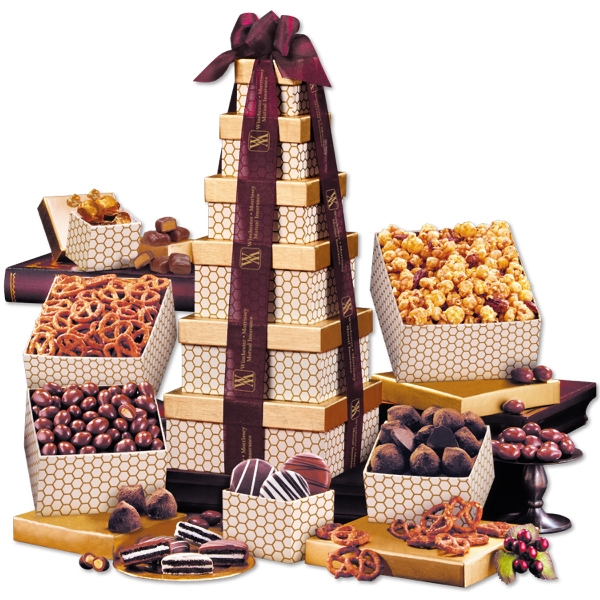 Golden Delights Tower with Sheer Burgundy Ribbon