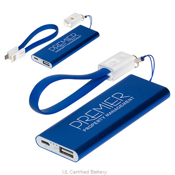Ready to Go - 2000mAh Power Bank with cable