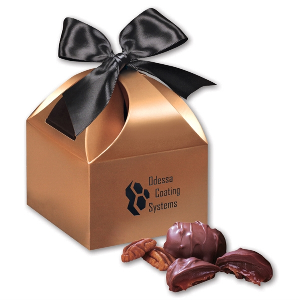 Pecan Turtles in Copper Gift Box - copper gift box filled with pecan turtles