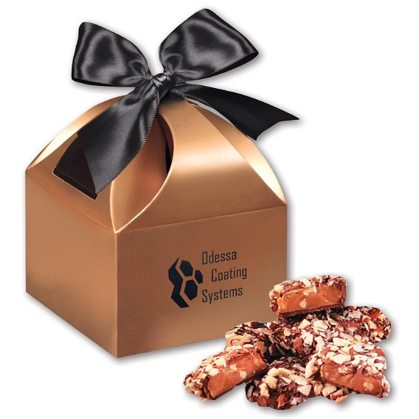English Butter Toffee in Copper Gift Box - copper gift box filled with english butter toffee