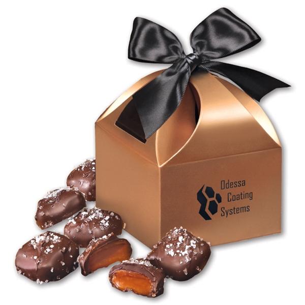 Chocolate Sea Salt Caramels in Copper Gift Box - copper gift box filled with chocolate sea salt caramels