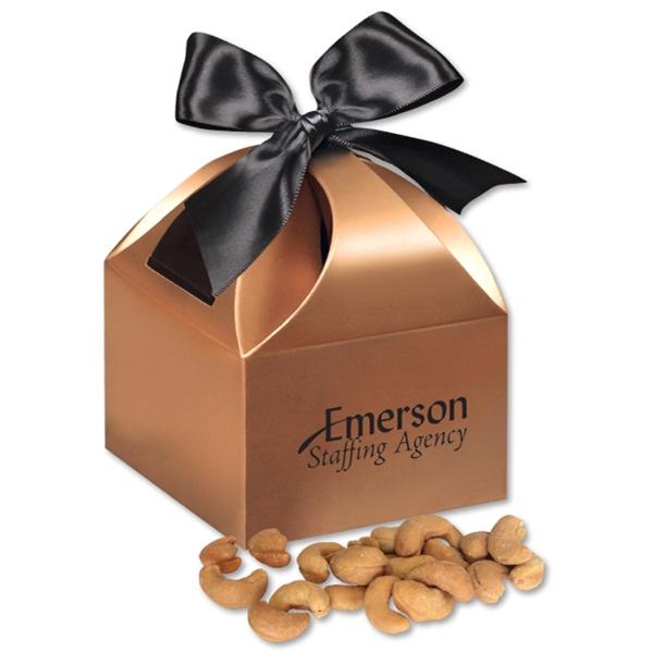 Extra Fancy Jumbo Cashews in Copper Gift Box - copper gift box filled with extra fancy jumbo cashews