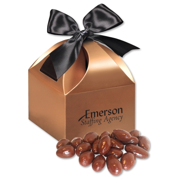 Chocolate Covered Almonds in Copper Gift Box - copper gift box filled with chocolate covered almonds