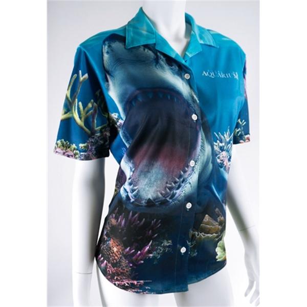 Ladies Basic Full Button Crew Shirt