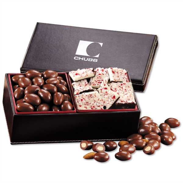 Chocolate Almonds & Peppermint Bark in Faux Leather Gift Box - faux leather gift box filled with chocolate covered almonds and peppermint bark