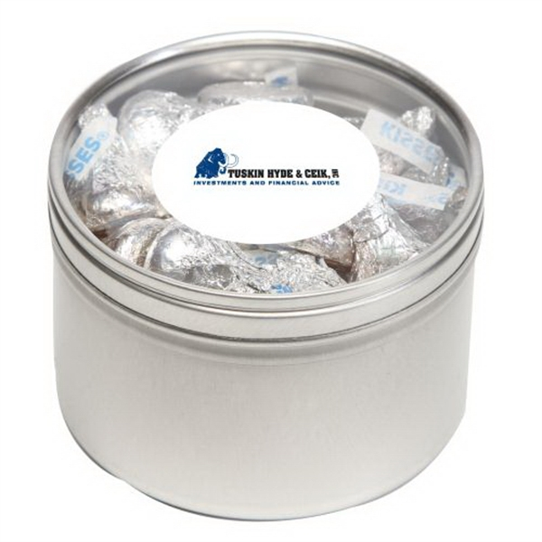 Hershey kisses in Large Round Window Tin - Hershey kisses in Large Round Window Tin