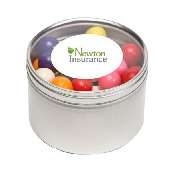 Gum Balls in Large Round Window Tin - Gum Balls in Large Round Window Tin
