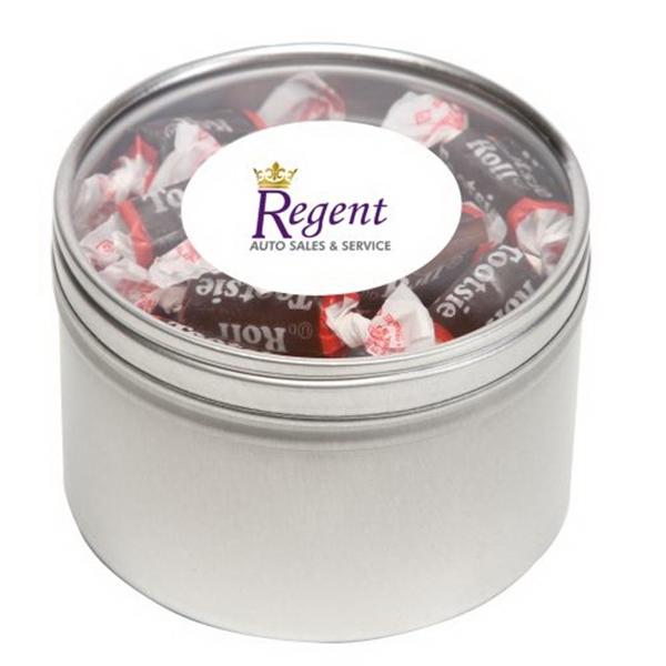 Tootsie Rolls in Large Round Window Tin
