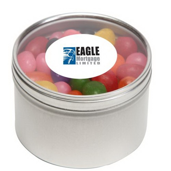Standard Jelly Beans in Large Round Window Tin