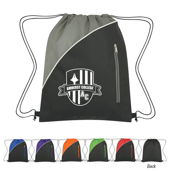 Non-Woven Drawstring Pack with Front Zipper