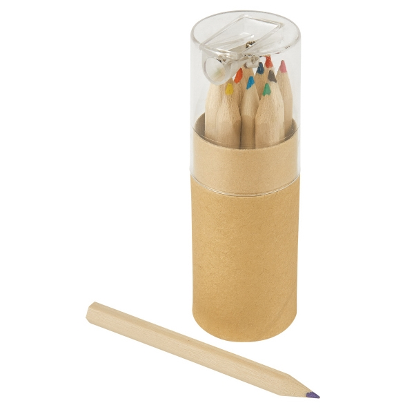 12-Piece Colored Pencils Tube With Sharpener