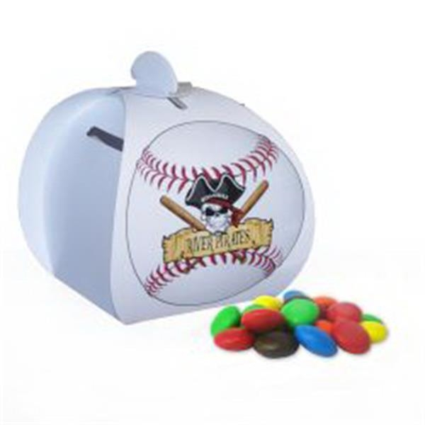 Baseball Paper Bank with Mini Bag of M&Ms