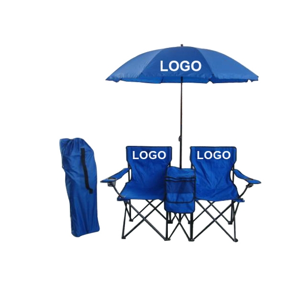 Double Folding Beach Chair Set
