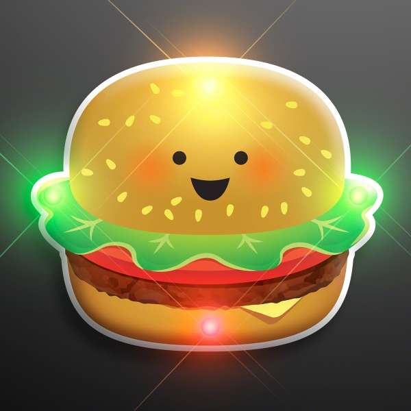 Smiling Burger Blinky Pin