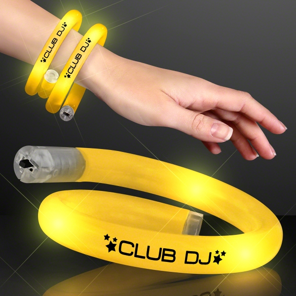 Blinky LED Yellow Tube Bracelets