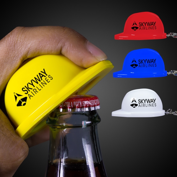 Plastic Construction Hat Bottle Opener Key Chain