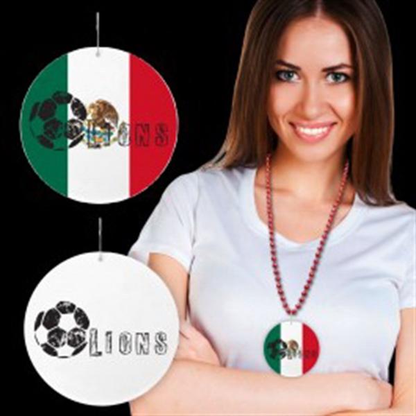 "Mexican Flag Plastic Medallions - 2 1/2"""