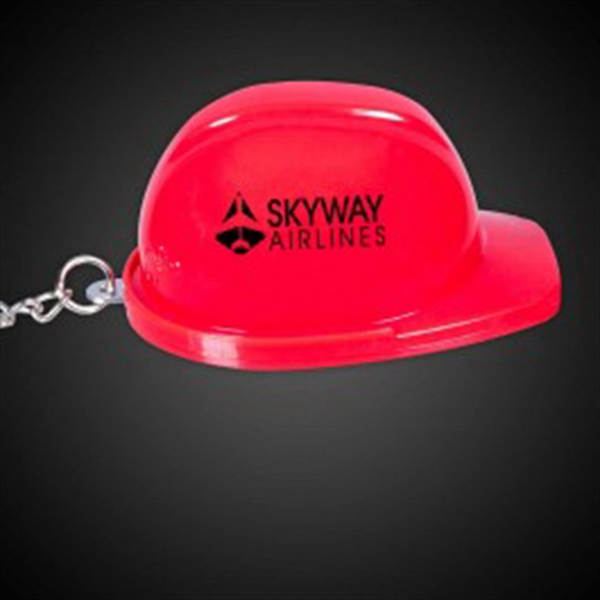 Red Plastic Construction Hat Bottle Opener Key Chain
