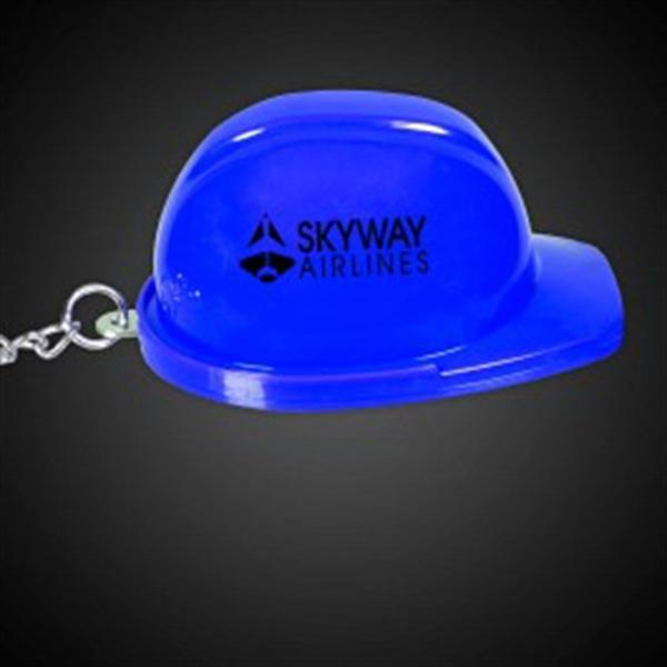 Blue Plastic Construction Hat Bottle Opener Key Chain