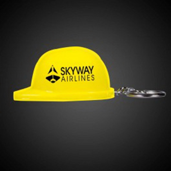 Yellow Plastic Construction Hat Bottle Opener Key Chain