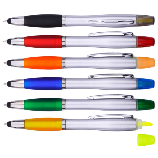 3-In-1 Stylus, Ballpoint Pen and Yellow Highlighter