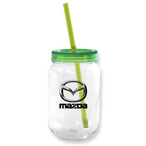 Mason jar with colored lid filled with starlight mints