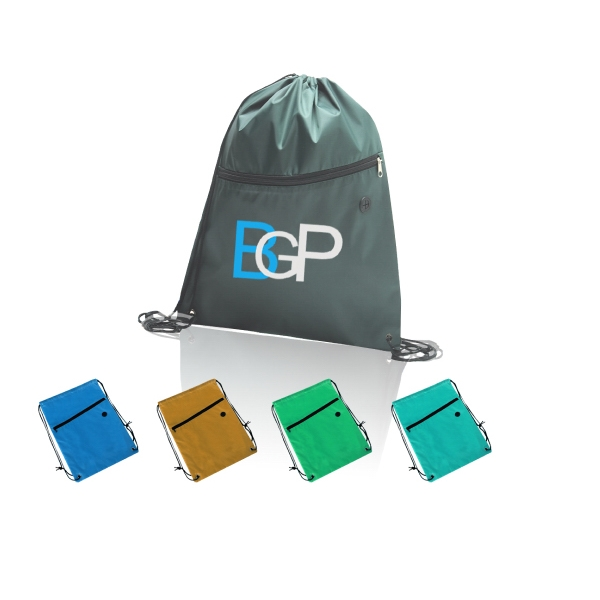 Sports Drawstring Backpack With Zipper Pocket Earbud Hole