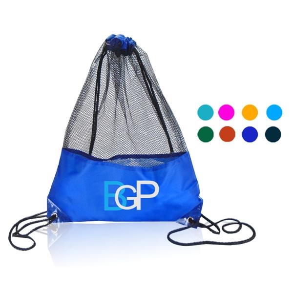Multifunctional  portable mesh material drawstring bag