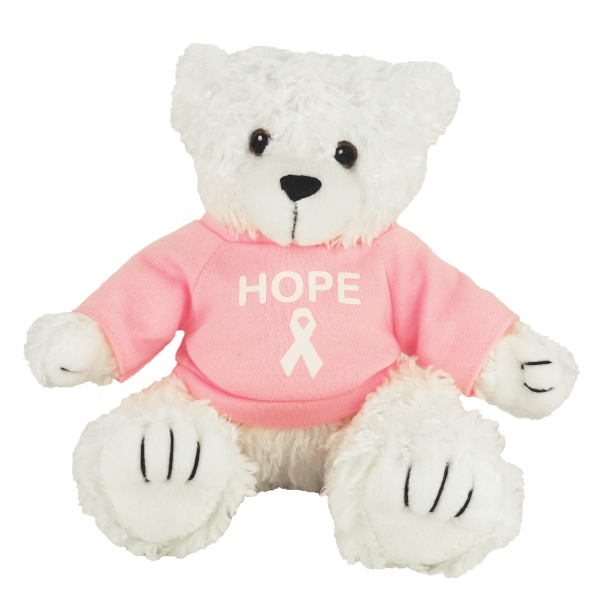 """8"""" White Curly Bear with Shirt and 1 Color Imprint"""
