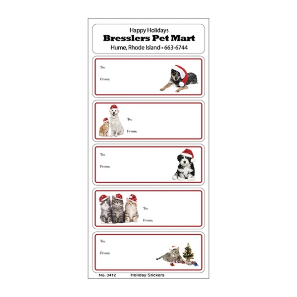 White Paper Christmas Holiday Sticker Sheet (Dogs/Cats)