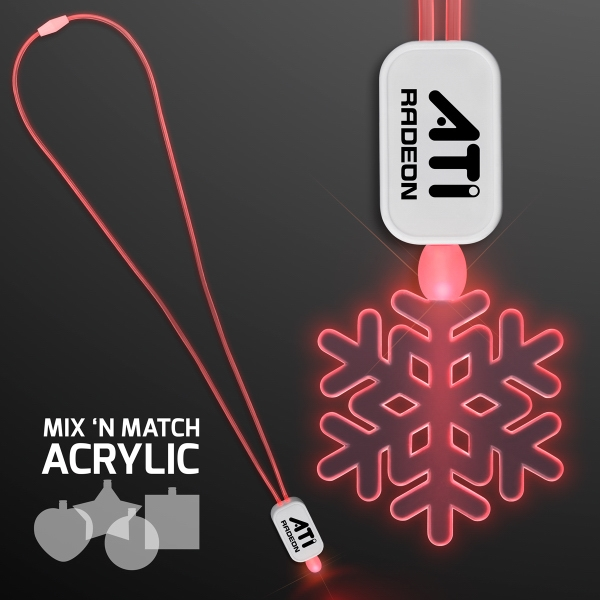 LED Neon Red Lanyard with Acrylic Snowflake Pendant