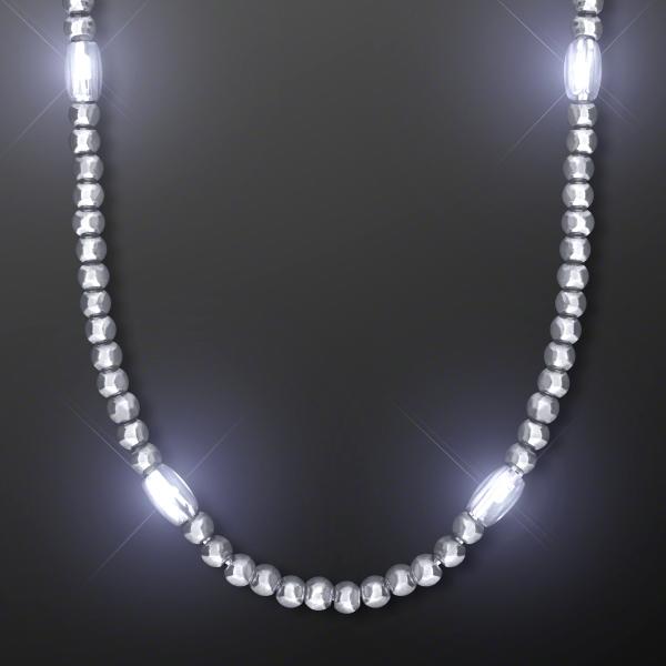 Light Up Silver Mardi Gras LED Beads