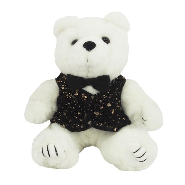 "8"" Festive White Kirby Bear - Black Bow Tie and BG Vest"