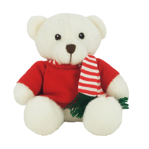 "6"" White Sugar Bear with Red Shirt & Striped Scarf"
