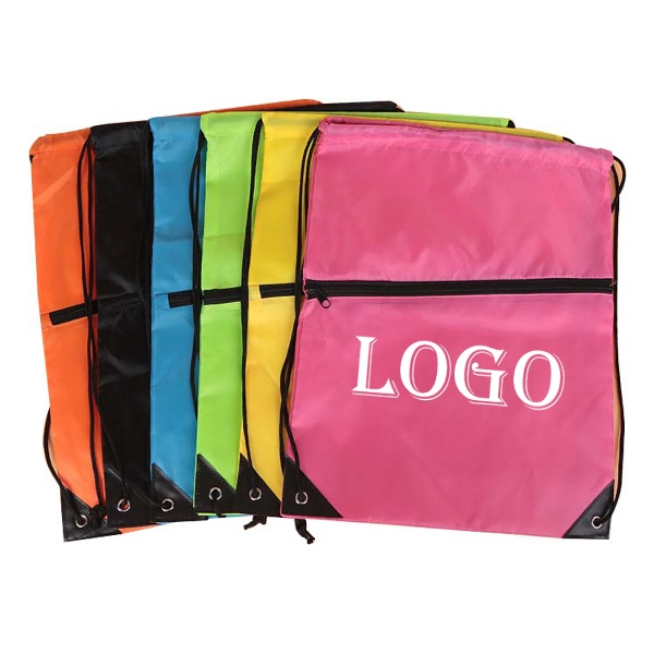 Drawstring Backpack w / Zipper Pocket