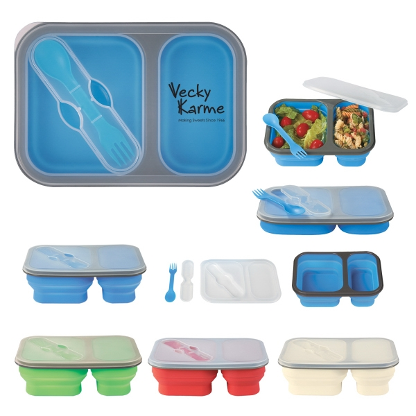 Collapsible 2-Section Food Container with Dual Utensil