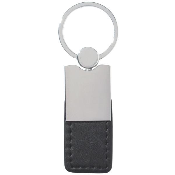Metal/Simulated Leather Key Tag