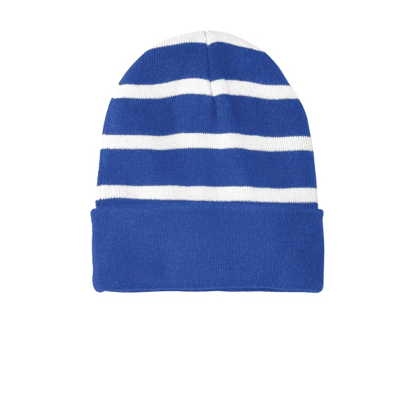 Sport-Tek Striped Beanie with Solid Band.