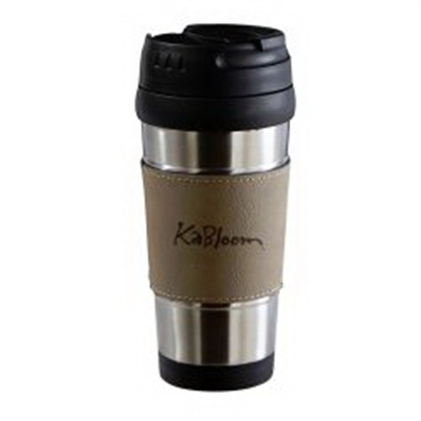 Leatherette Grip Stainless Travel Mug