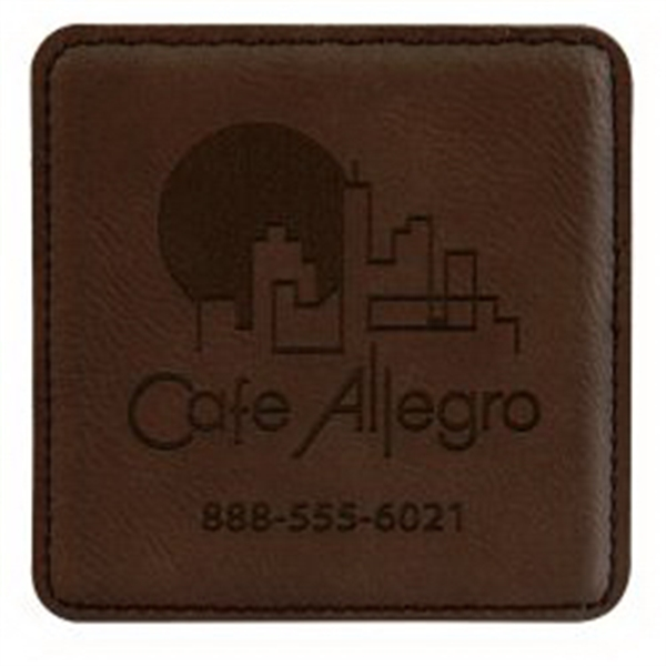 6 Piece Square Leatherette Coaster Set