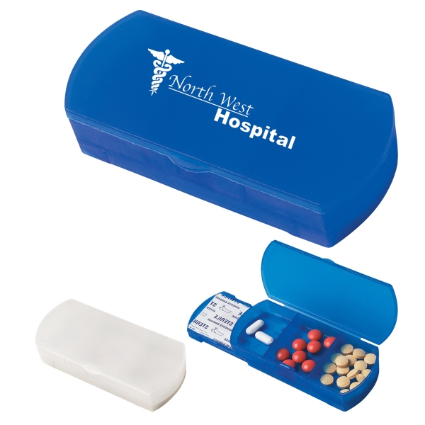 Promotional Pill Box/Bandage Dispenser personalized with a custom imprint or logo.