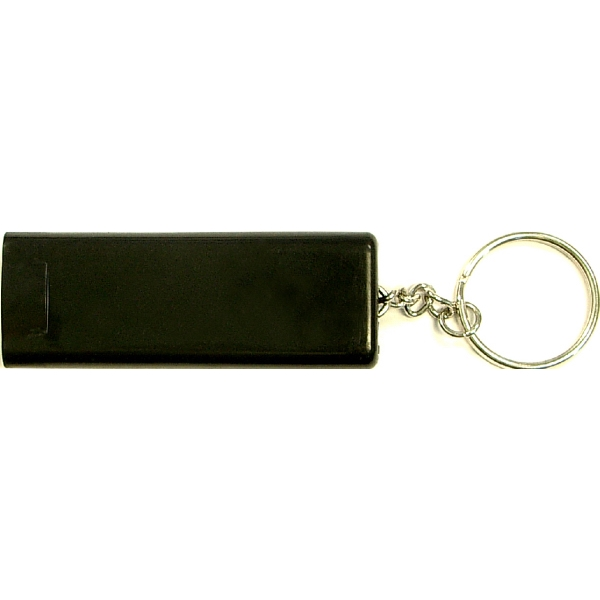 Slim rectangular flash light with compass key chain