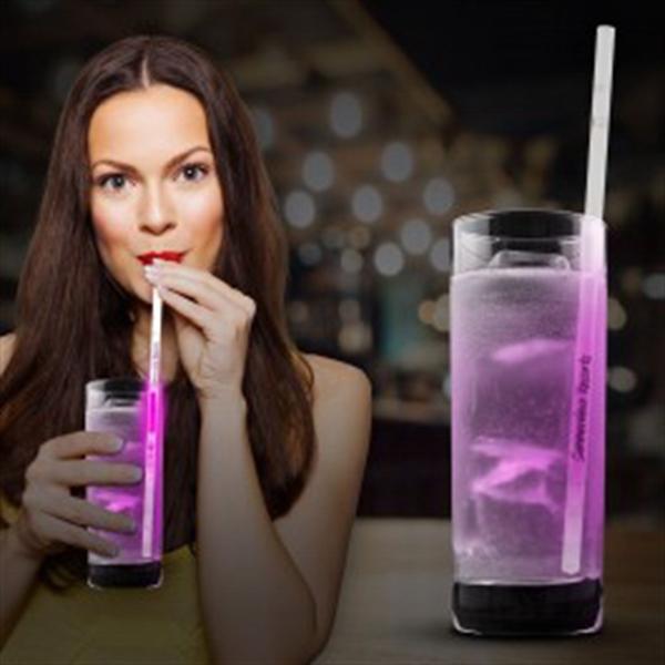"Pink Glow Motion Straws- 9"""