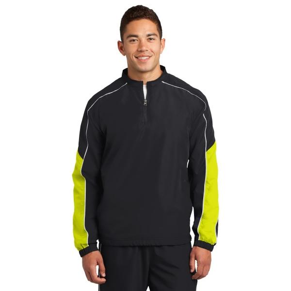Sport-Tek Piped Colorblock 1/4-Zip Wind Shirt. - Sport-Tek Piped Colorblock 1/4-Zip Wind Shirt.