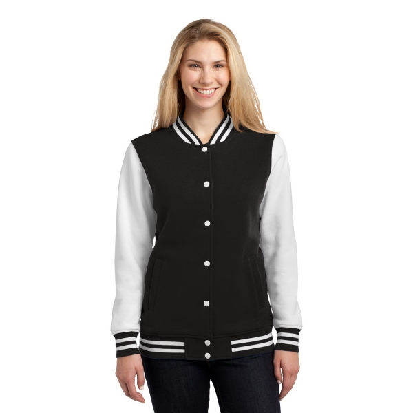 Sport-Tek Ladies Fleece Letterman Jacket. - Sport-Tek Ladies Fleece Letterman Jacket.