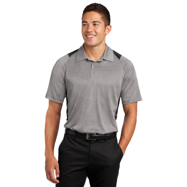 Sport-Tek Heather Colorblock Contender Polo. - Sport-Tek Heather Colorblock Contender Polo.