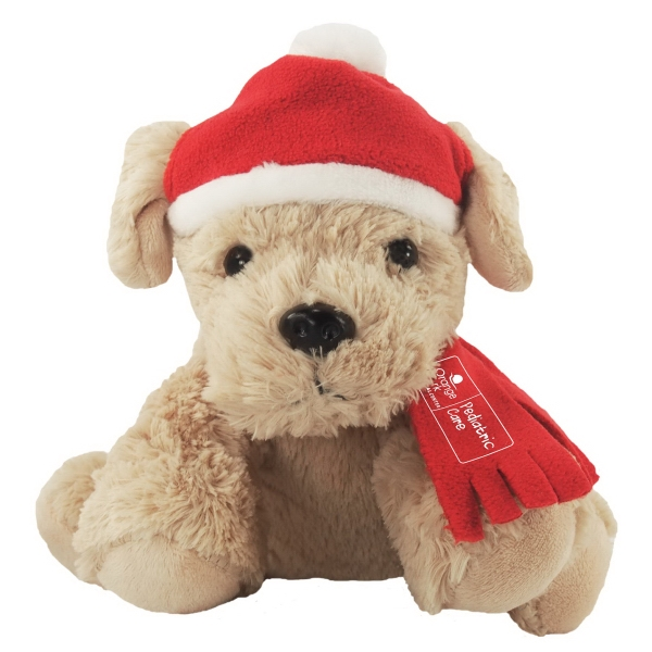 """9"""" Golden Puppy w/ Winter Hat, Scarf, and 1 Color Imprint"""