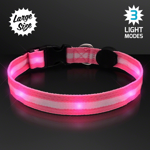 Pink Light Up Dog Collars, Large